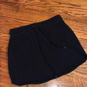 Black drawstring sweat skirt